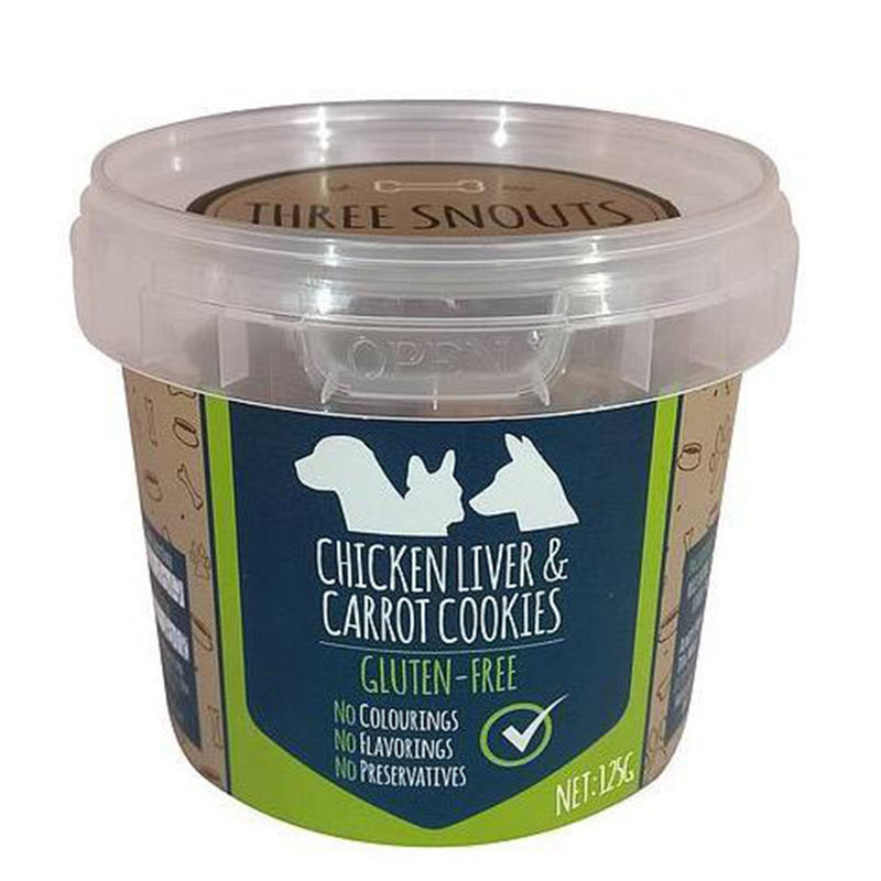 Three Snouts Chicken Liver & Carrot Cookies 125g - Amin Pet Shop