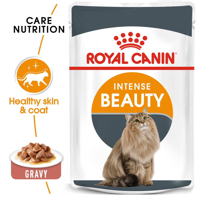 Royal Canin Intense Beauty in Gravy (85 gm\Pouch) - Wet food for adult cats - supports a healthy skin and shiny coat - Amin Pet Shop