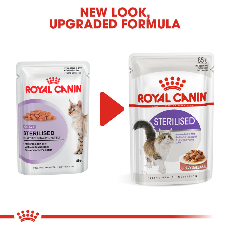 Royal Canin Sterilised in Gravy (85 gm\Pouch) - Wet food for neutered adult cats - Amin Pet Shop