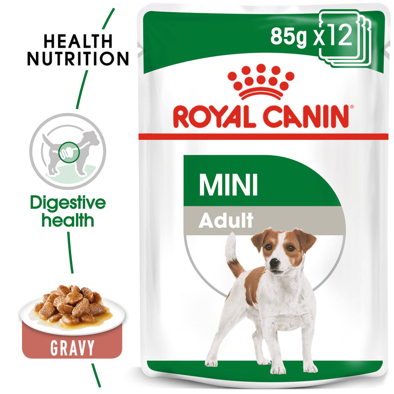 Royal Canin Mini Adult in Gravy (85 gm\pouch) - wet food for small dogs up to 10 KG - form 10 months to 8 years - Amin Pet Shop