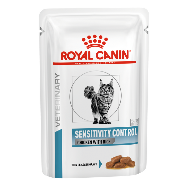Royal Canin Feline Sensitivity Control – chicken & rice (100 gm\ Pouch)- Wet food for adverse Food Reactions with dermatologic and/or gastro-intestinal signs – 12 pouches per box.