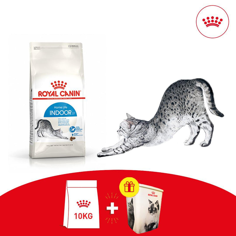 Offer: Royal Canin Indoor27 (10KG) + Free Royal Canin Food Container
