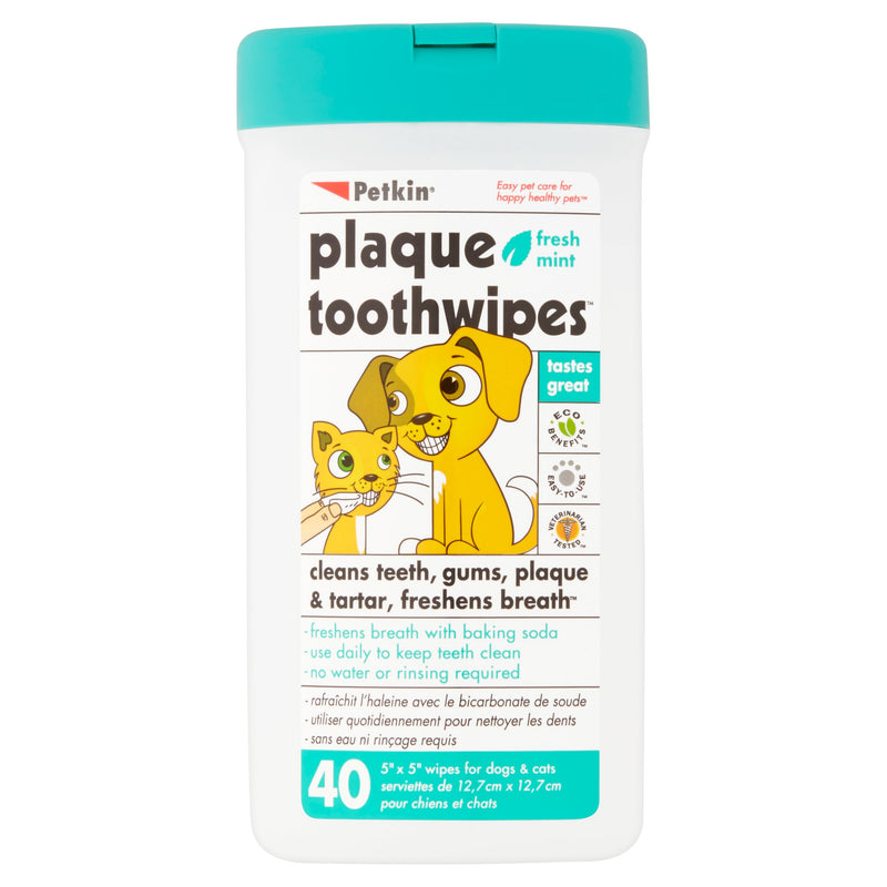 Petkin Fresh Mint Plaque Toothwipes