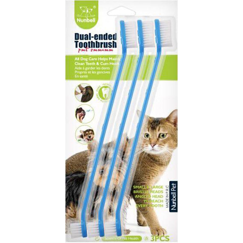 Nunbell Toothbrush For Cats & Dogs - 3pcs - Blue