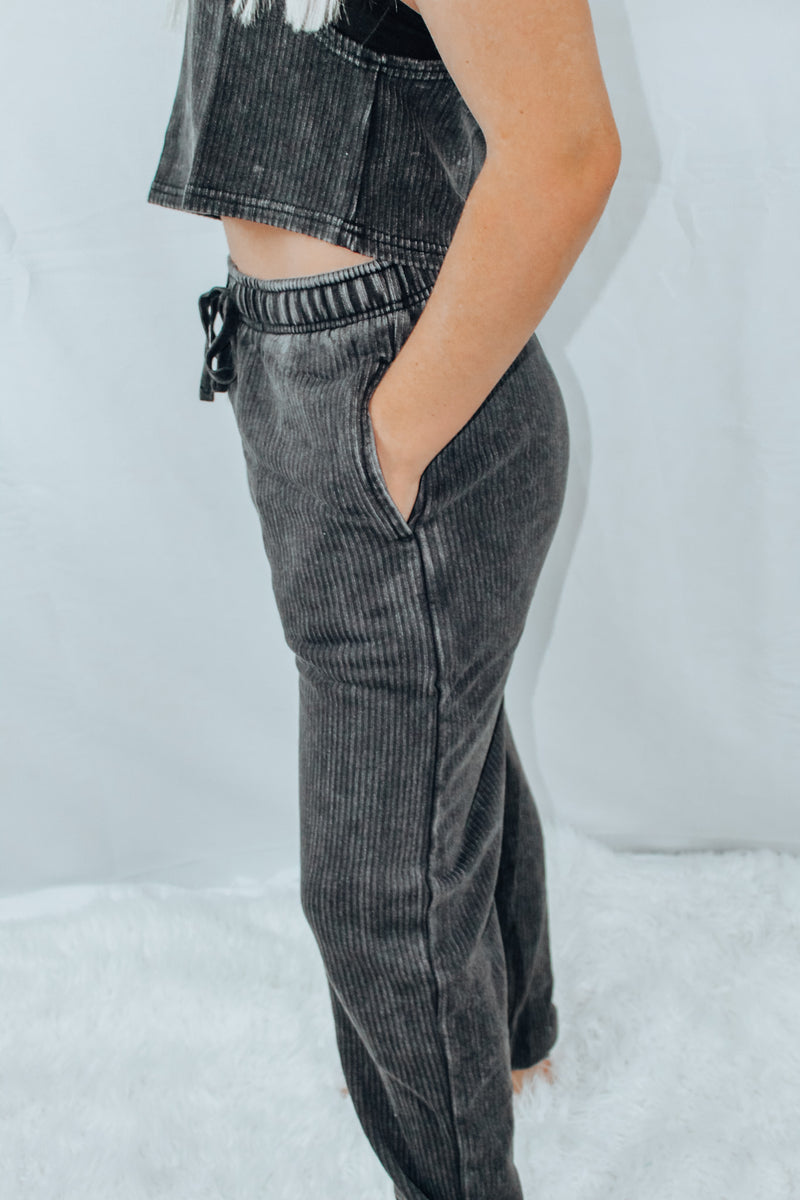 Black Mineral - Washed  Ribbed Joggers