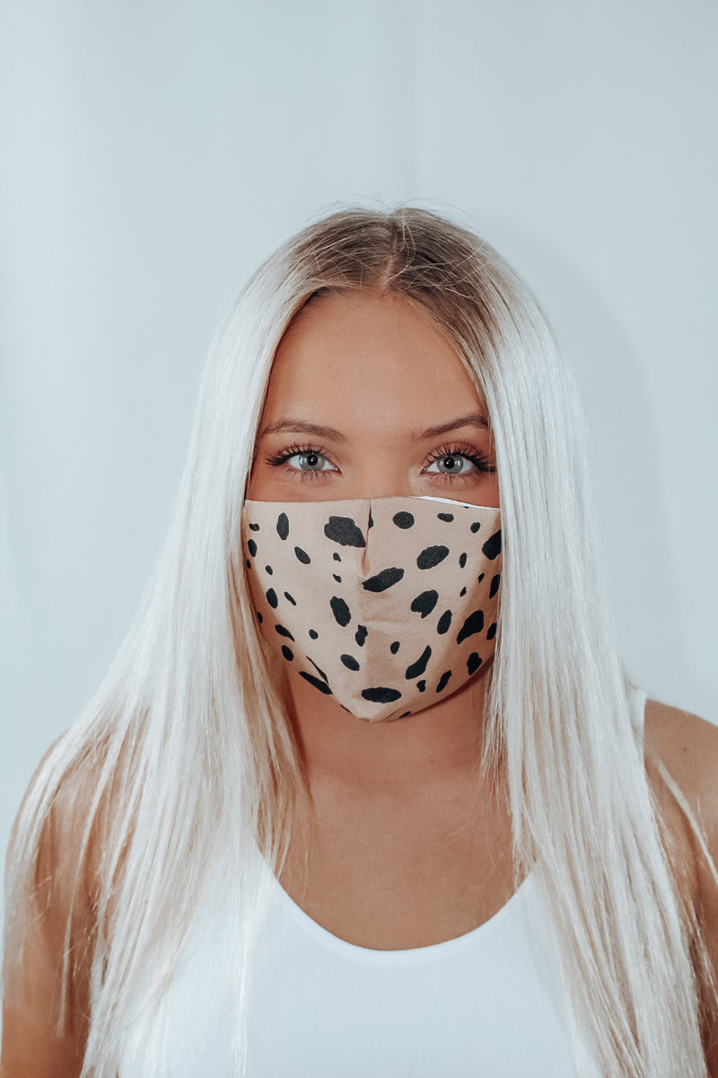 Tan/ Black Animal Print Mask