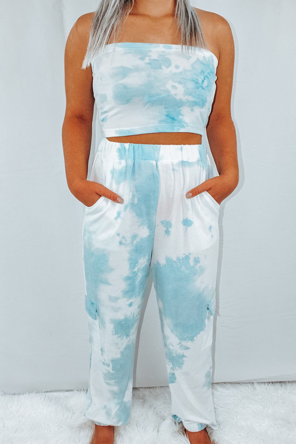 Tie-Dye Sweatpants  Blue& White