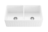 "33"" Double Bowl Reversible Fireclay Farmhouse Sink - White Gloss"