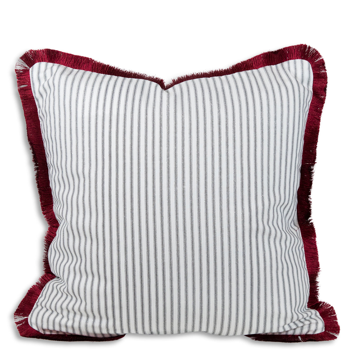 Ophelia Striped Fringe Pillow - Black + Red