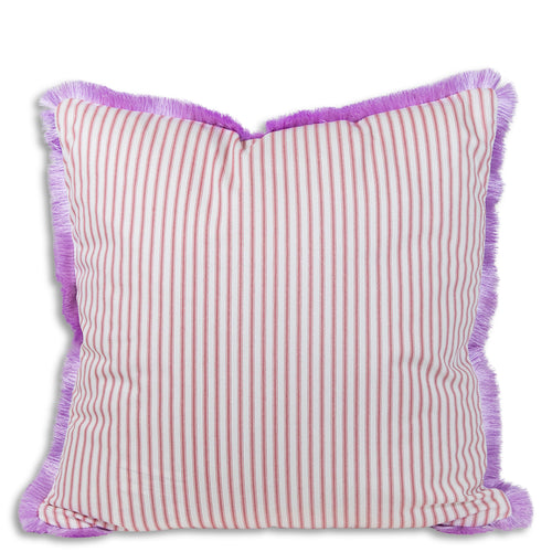 Ophelia Striped Fringe Pillow - Red + Lilac
