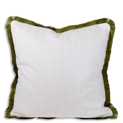 Ophelia Striped Fringe Pillow - Pink + Green