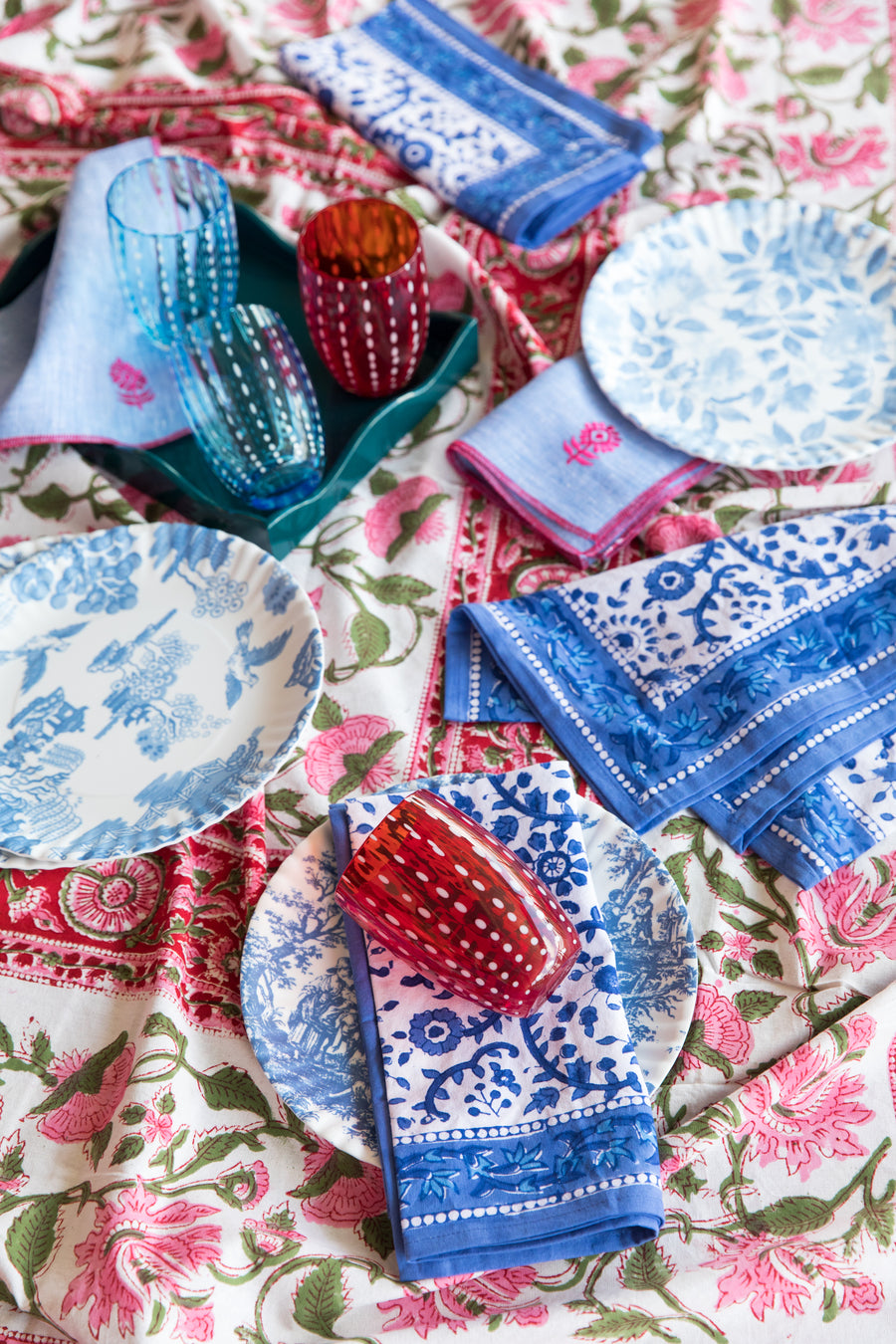Furbish Studio - Raja Blue Floral Napkins styled on a tablescape