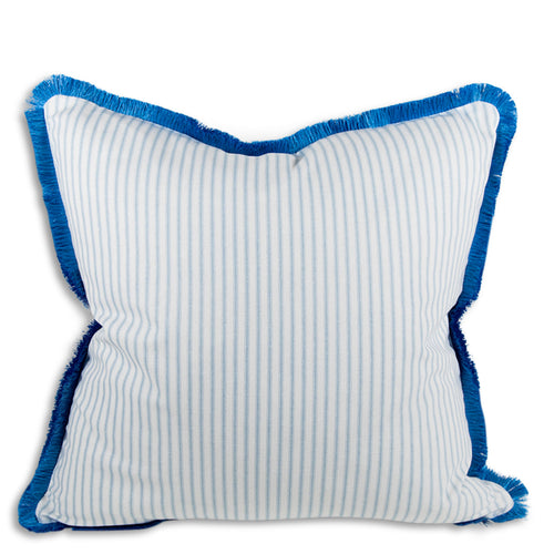 Ophelia Striped Fringe Pillow - Azure + Cornflower