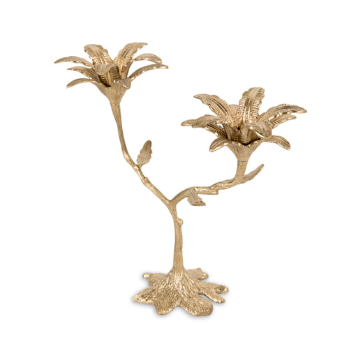 Furbish Studio - Odisha Palm Shiny Brass Candlestick with double palm details
