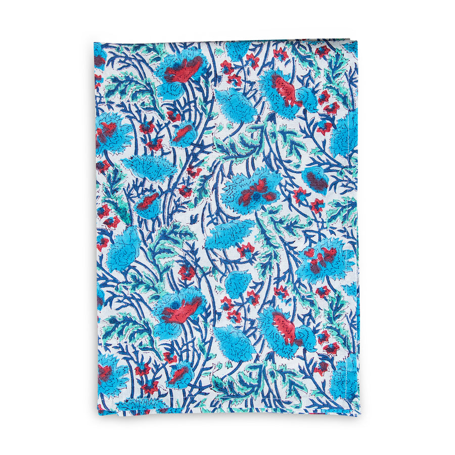 Furbish Studio - Blockprint Kitchen Towels - Teal, green, and red floral printed hand towel