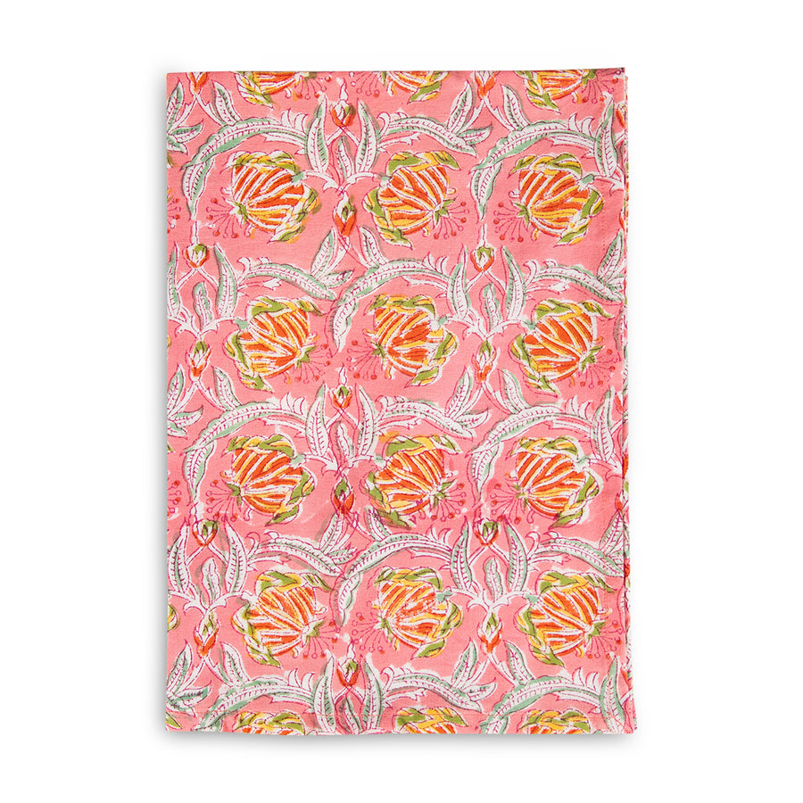 Furbish Studio - Blockprint Kitchen Towel - Coral yellow and green floral printed hand towel