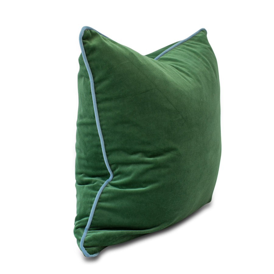 Furbish Studio - Chloe Velvet Pillow in Basil Green with Sky Blue Piping side view