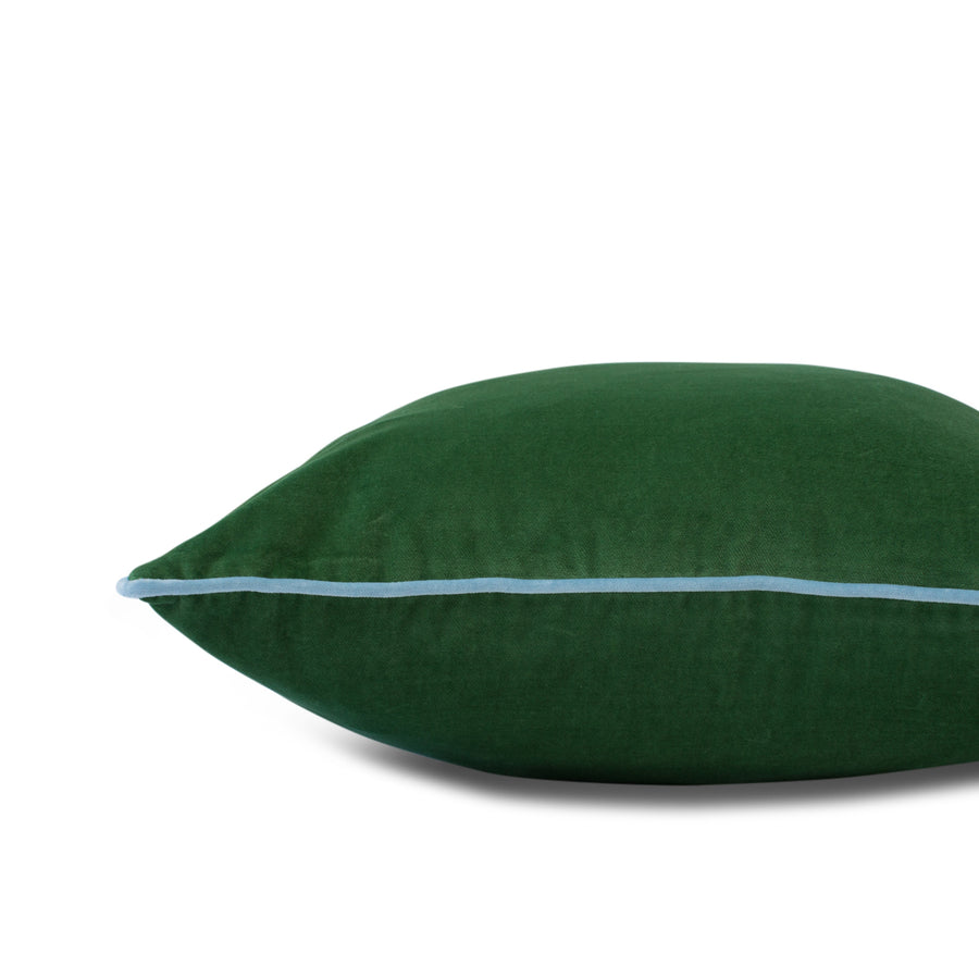 Furbish Studio - Chloe Velvet Pillow in Basil Green with Sky Blue Piping flat side view