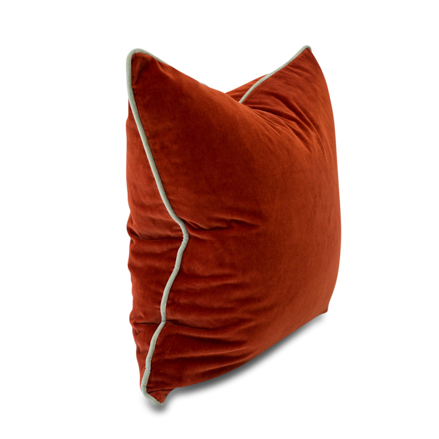 Furbish Studio - Chloe Velvet Pillow in Terra Cotta with Mint Green Piping side view