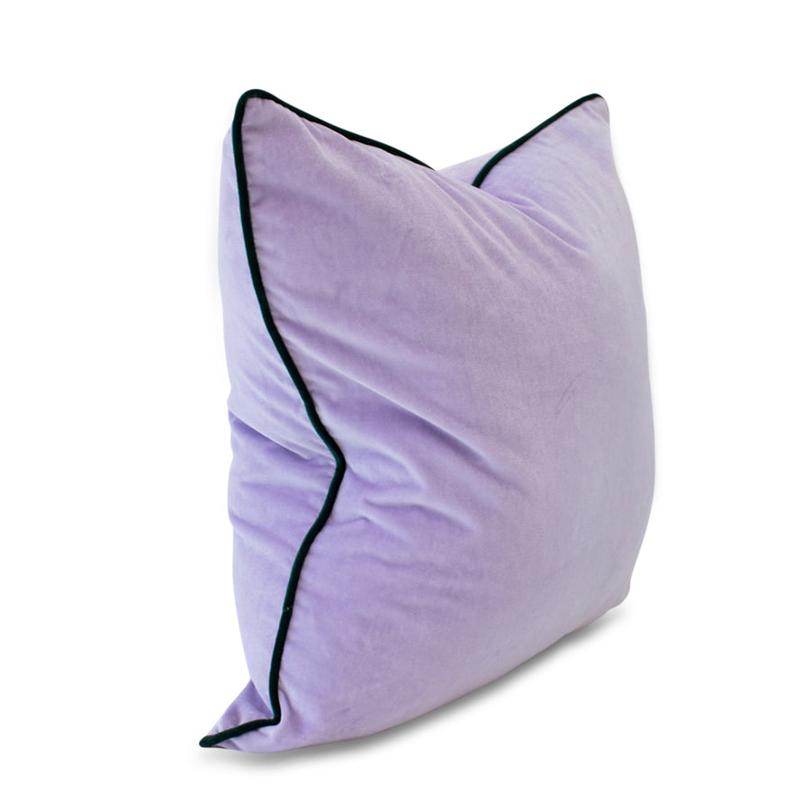 Furbish Studio - Chloe Velvet Pillow in Lilac with Spruce Green Piping side view
