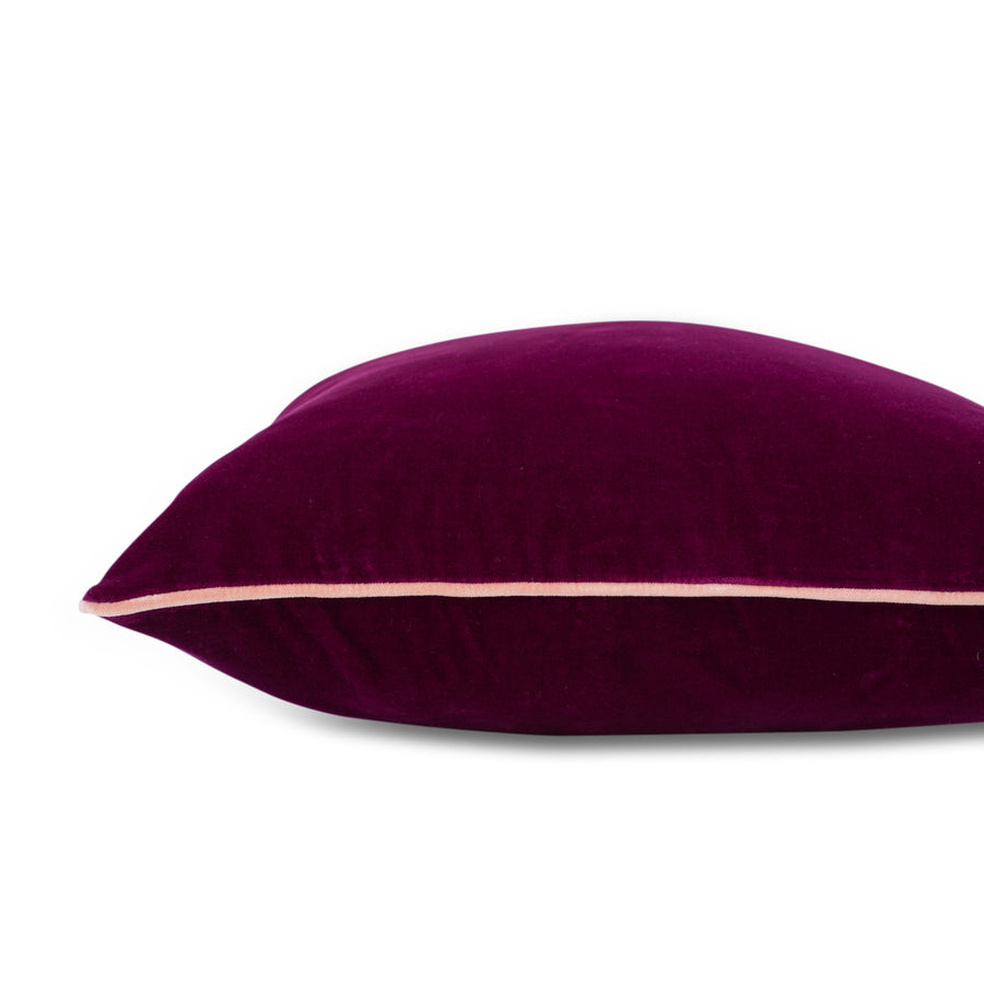 Furbish Studio - Chloe Velvet Pillow in Mulberry with Blush Piping flat side view