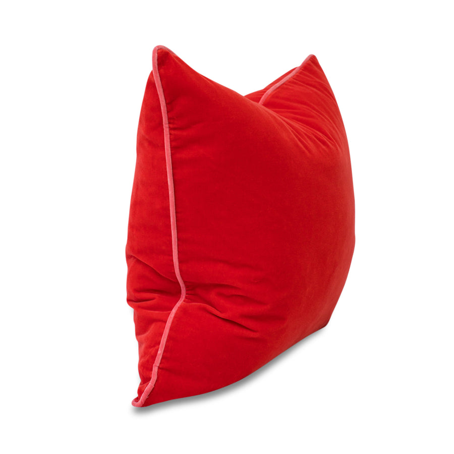 Furbishs Studio - Chloe Velvet Pillow in Tomato Red with Pink Piping Trim side view