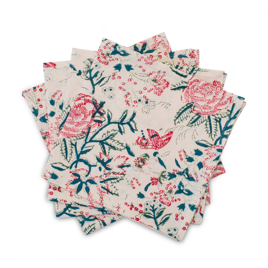Furbish Studio - Shefali Napkins with Floral Motif shown with 4 napkins