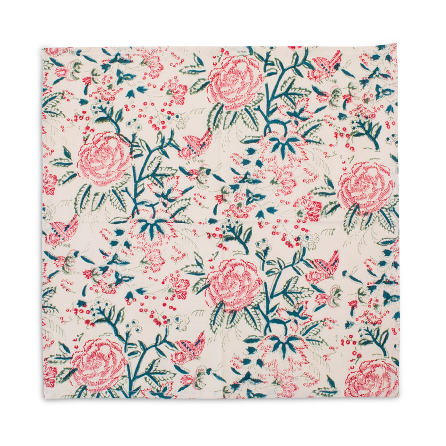 Furbish Studio - Shefali Napkins with Floral Motif one napkin fully open