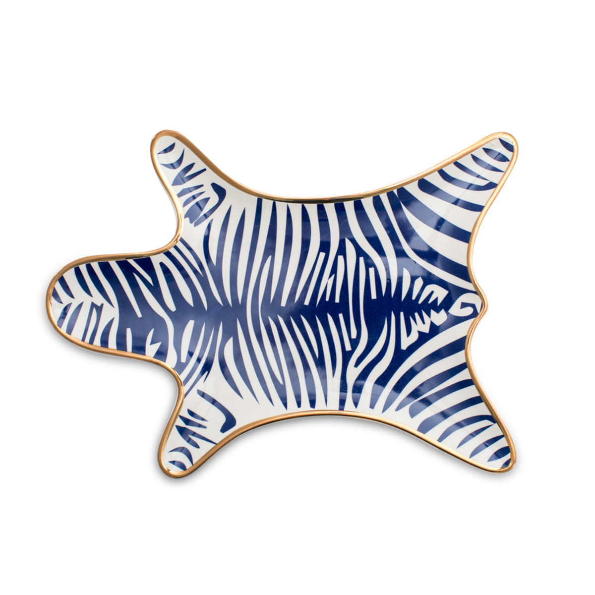 Furbish Studio - Zebra Porcelain Trinket or Jewelry Tray in cobalt blue with gold edges