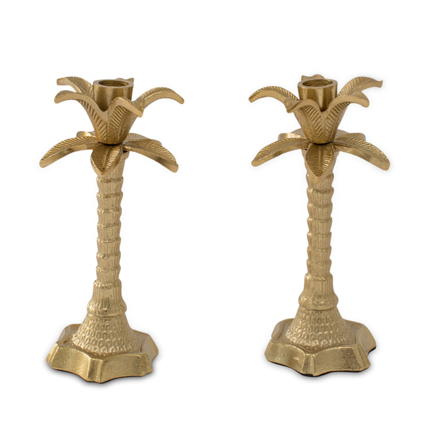 Furbish Studios - Palm Tree Brass Taper Candle Holders showing a pair