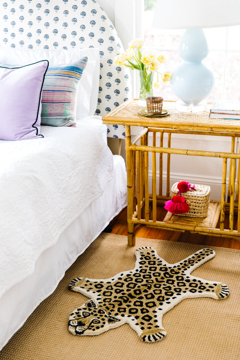 Furbish Studio - Looney Leopard Rug or Wall Hanging shown in bedroom