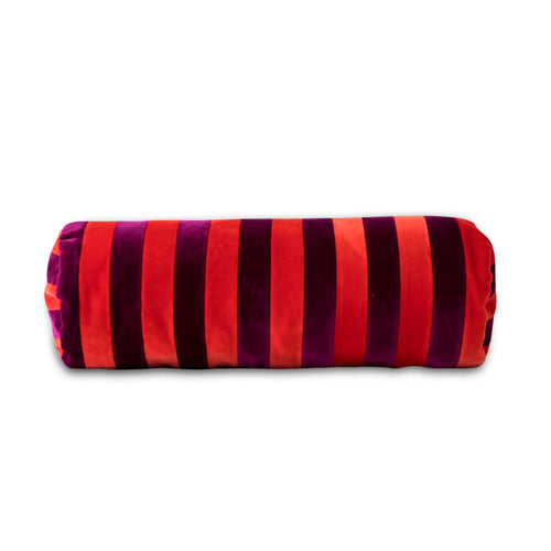 Furbish Studio - Baies Striped Velvet Bolster - Tomato + Mulberry front view