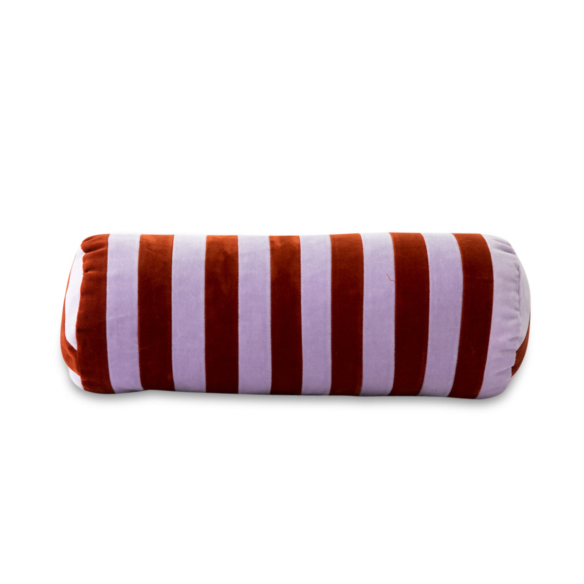 Furbish Studio - Baies Striped Velvet Bolster Pillow - Lilac + Terra Cotta front view