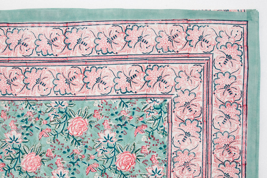 Furbish Studio - Marjorie Tablecloth in lovely pink and blue block prints in a bohemian motif view of edge