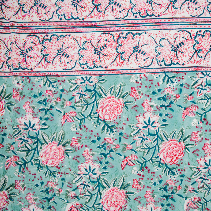 Furbish Studio - Marjorie Tablecloth in lovely pink and blue block prints in a bohemian motif closeup view