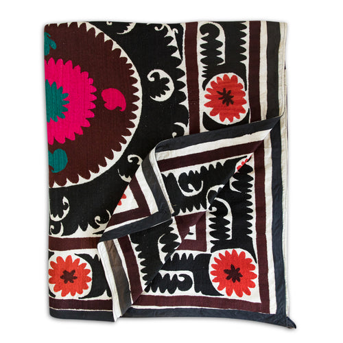Furbish Studio - Vintage Suzani XX textile 11.5 feet by 7.25 feet vintage textile with abstract design in black, brown, orange, pink, teal, and ivory