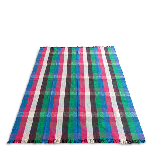 Furbish Studio - Mérida Plaid Rug in blue, red, white, ebony, and green with fringe ends