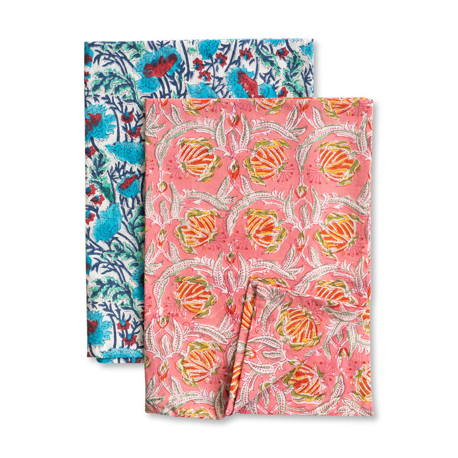 Furbish Studio - Blockprint Kitchen Towels - Set of 2 - Colorful floral printed hand towels