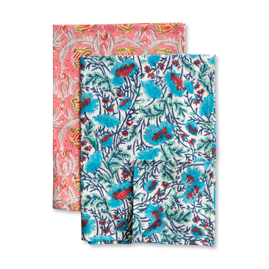 Furbish Studio - Blockprint Kitchen Towels - Set of 2 - Coral and Blue floral printed hand towels