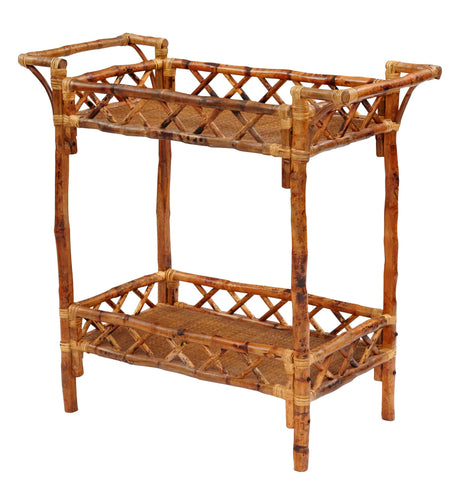 Furbish Studio - Riverside Tortoise Bamboo Double Shelf Bar Cart