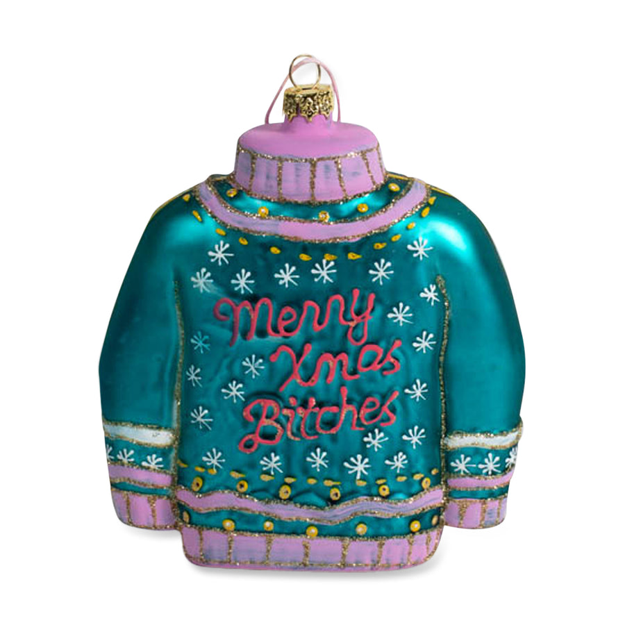 Merry Xmas Bitches Ornament - Teal