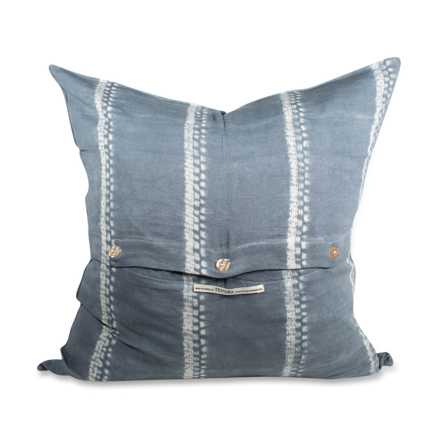 Furbish - Sabina Shibori Euro Shame - Grey Tie Dye back of pillow - A go with everything grey color in our best-selling Sabina shibori tie dye technique pillow covers. A laid-back boho vibe for your sofa or bed. Measures 26