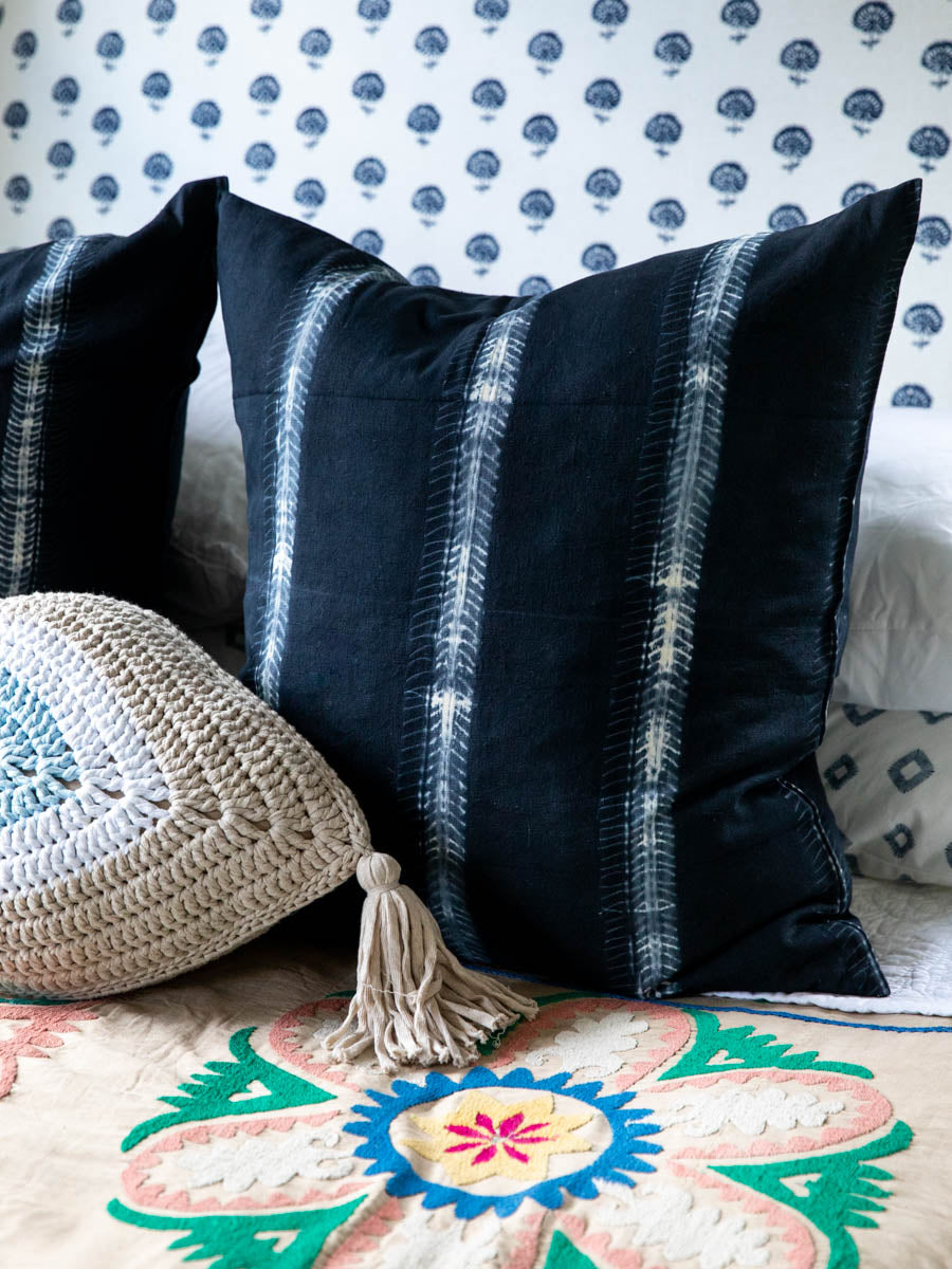 Furbish Studio - Sabina Shibori Euro Sham - Black Tie Dye - A go with everything black color in our best-selling Sabina shibori tie dye technique pillow covers. A laid-back boho vibe for your sofa or bed. Measures 26
