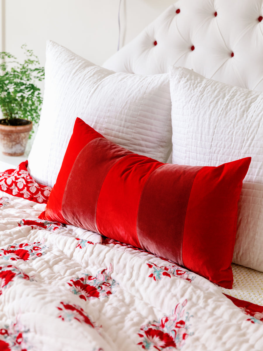 Durant Velvet Pillow - Cherry + Salmon