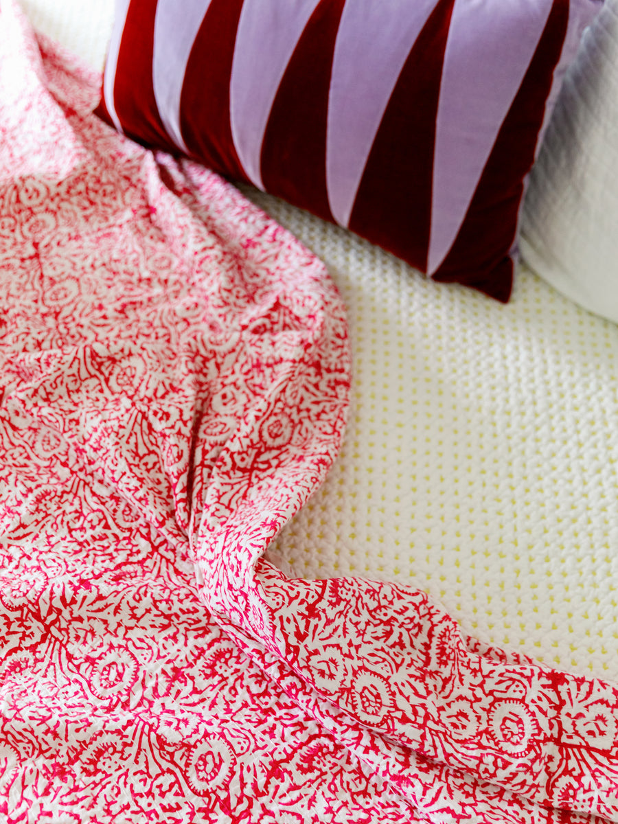 Pink Floral Kantha Quilted Coverlet