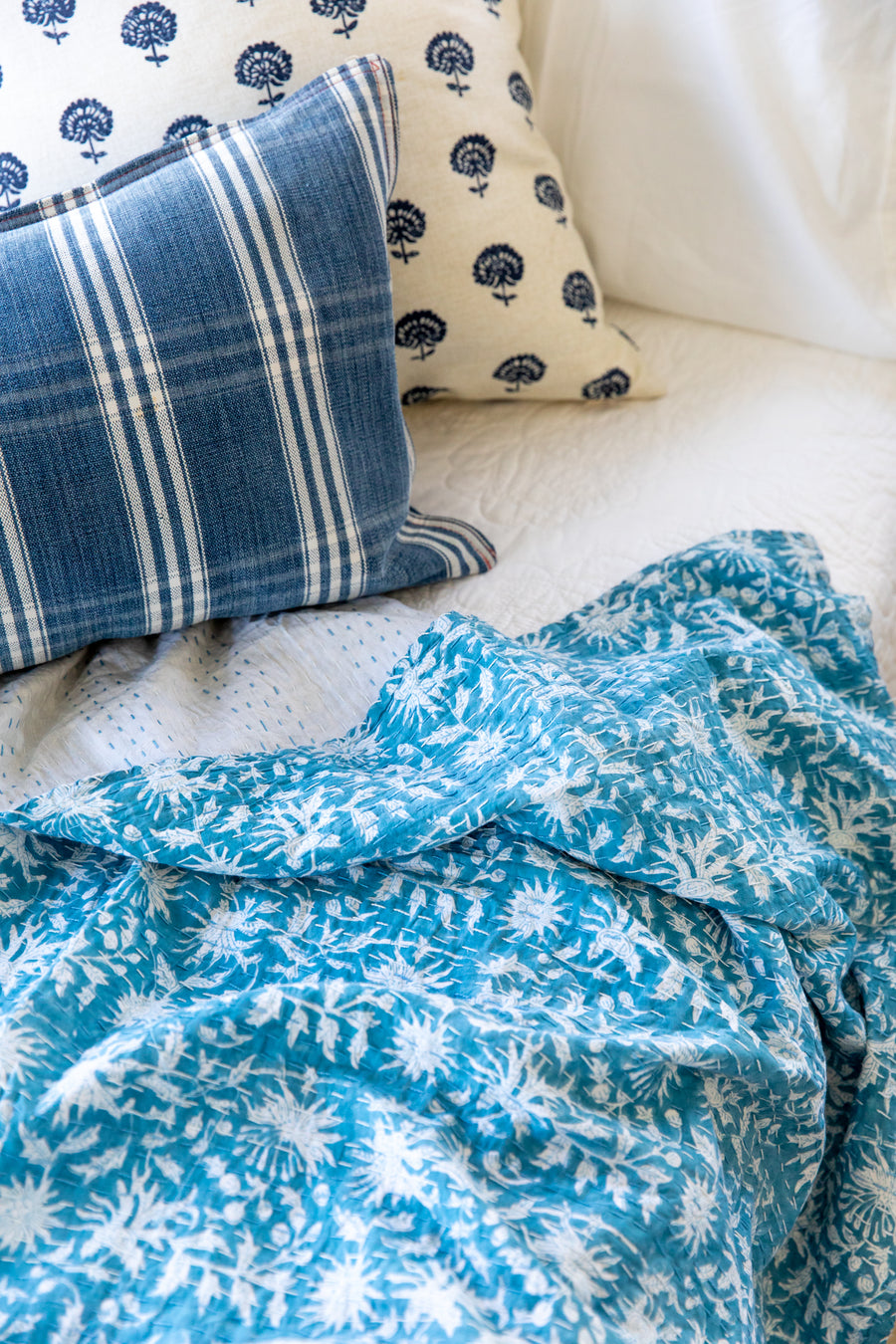 Blue Floral Kantha Quilted Coverlet