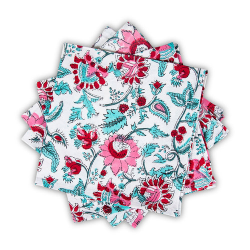Furbish Studio - Cala d'Or Napkin with floral print in pinks reds and aquas