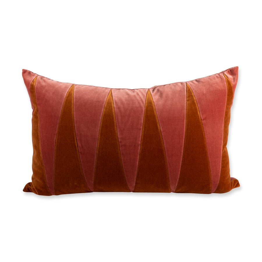FURBISH STUDIO - Cooper Velvet PIllow - Burnt Orange + Salmon front view