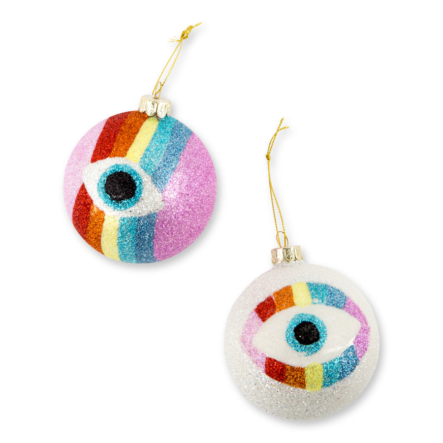 Glitter Evil Eye Ornaments S/2