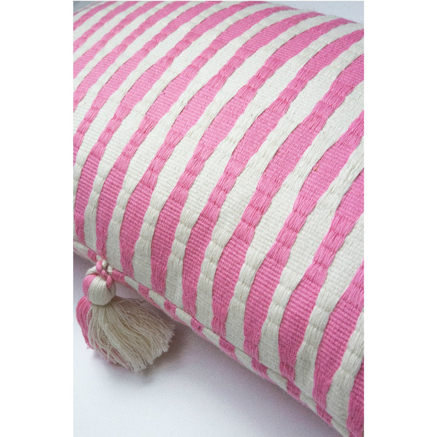 Furbish Studio - Antigua Lumbar in Pink closeup of weave and colors